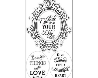 New! Sizzix Interchangeable Clear Stamps - Fancy Frame w/Phrases by Jen Long