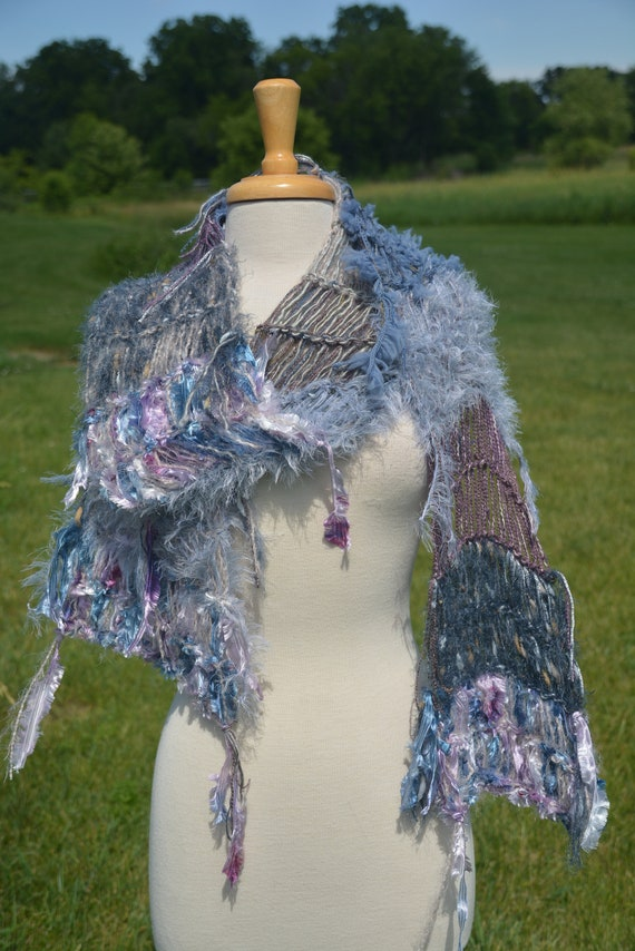 Knit wide shawl, wide long scarf, Shaggy Chic, handmade, blanket scarf in taupe grey lavendar, blue, bohemian, ooak