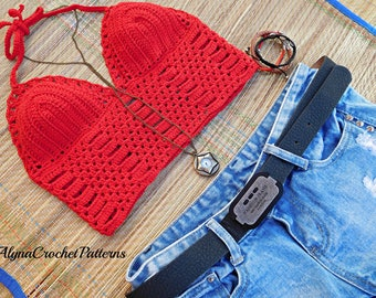 Crop Top Crochet - Crochet Pattern - Crochet Crop Top - Instant Download- Halter Top