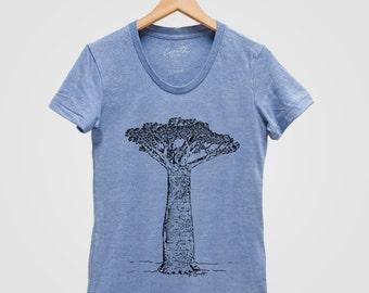 Women Baobab Shirt Hand Screen Print Tri-Blend Short Sleeve