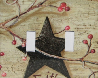 Black Star Faith Double Toggle Switch plate Primitive Country