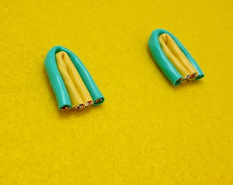 CAT 5 Earrings Upcycled Yellow Green Statement Earrings