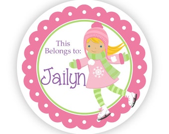 Name Tag Stickers - Pink and Lime Green Girl Ice Skater Personalized Name Label Tag Stickers - 2 inch Round Tags - Back to School Name Label