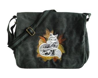 Black canvas messenger bag, despatch bag, college bag, fox bag, shoulder bag, cross body bag, back to school, work bag.