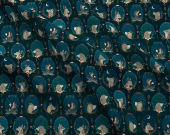 Enchanted Fabric - Enchanted Forest By Katherine Quinn - Enchanted Woodland Animals Teal Green Cotton Fabric By The Yard With Spoonflower