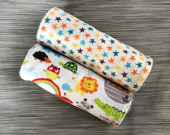 Noah's Ark Burp Cloth Set, Flannel Backed with Terrycloth, Thick and Absorbent