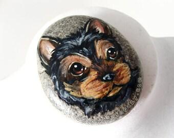 Yorkie Painting, Dog Portrait, Yorkshire Terrier, Pet Memorial, Hand Painted Rock Art