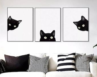 Black Cat Canvas Art Print, Peek A Boo Canvas Art,Living Room Wall Decor,Bedroom  Wall Art, Nursery Canvas Giclée, Extra Large Print