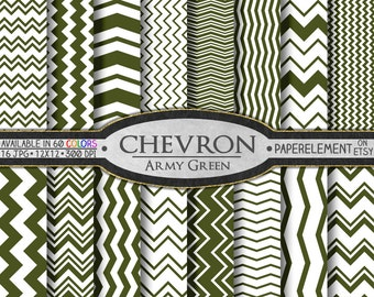 Army Green Chevron Digital Paper Pack - Dark Green Seamless Pattern - Chevron Digital Background - Chevron Backdrop Instant Download
