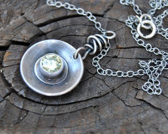 Cubic Zirconia Necklace, Apple Green Necklace, Rustic Silver Necklace, Round Silver Pendant