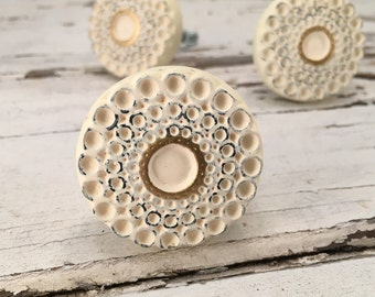Knobs, White Washed Shabby Chic Knob White & Gold French Country Drawer Pull Cabinet Supply Item #511778297