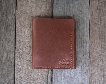 Mens birthday or anniversary gift // Tan Leather Tri-fold Wallet Simple Unisex Design // Gift for him