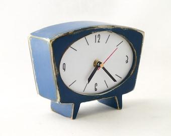 NO TICKING Desk Clock Blue, Navy blue table clock, SILENT Wood handmade Clock, Vintage 60s style, Unique Clock blue, Office decor