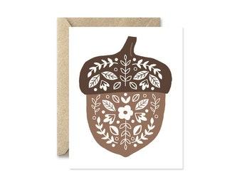 Folk Acorn - Greeting Card
