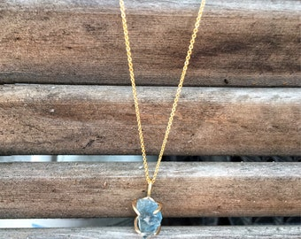 Aqua Stone Necklace | Raw Stone Layering Necklace | Rough Cut Flourite Necklace | Layering Jewelry | Crystal Necklace |