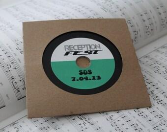 Vinyl styled blank CDs with custom labels and kraft sleeves - SAMPLE
