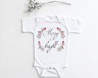 Christmas Bodysuit, Christmas Baby Shirt, Merry and Bright, Christmas Outfit, Baby Christmas Outfit, Hipster Baby