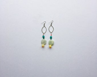 Coral and Yellow Up-cycled Geo Boho Extra Long Earrings