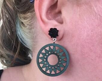 Boho wooden drop earrings! SHIPS IMMEDIATELY from USA!