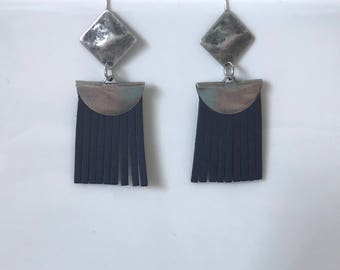 Aged Silver earrings, diamond and Navy blue fringe