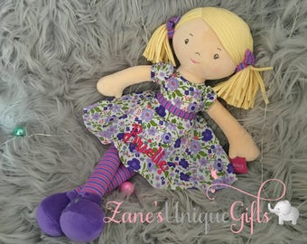 Personalised Rag Doll / Handmade Doll / Dolls for Girls / Soft Dolls / Doll Bear / Doll for Baby Girls / Doll for Gift / Floral / Flowers