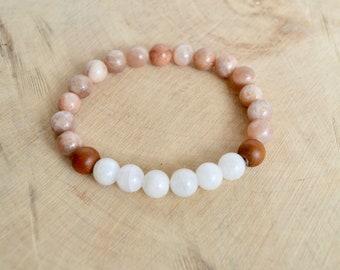 Sunstone and Moonstone Gemstone Bracelet