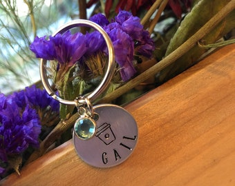 Coffee Lover Personalized Key Ring with Birthstone