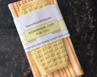 Handwoven DishTowel and Knitted Dishcloth Set, 100% Cotton, Gift, Shower, Housewarming, Retro Style, Eco-friendly