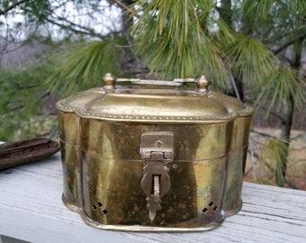 Large Brass Box Oval Cricket Cage Trinket Box