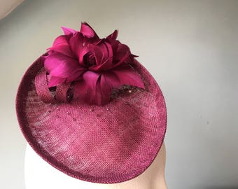Cranberry Saucer Hat with Feather Flower Hatinator Wine plum