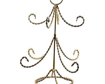 "14"" Gold Tone Twisted Wire Tree Ornament Stand"