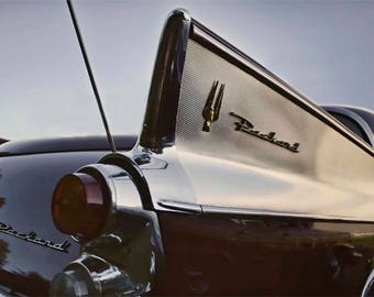 Classic Car Tailfin Photo Art - Packard Hawk Tail Fin at Sunset Photograph - 1958 Packard Automobile Detail - Chrome and Steel - Industrial