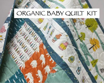 Organic Baby Quilt Kit, Camping Fishing Theme, Nursery Quilting Cotton, Precut Squares, Birch Camp Sur, Outdoorsy, Lures, Woodland, Baby Boy