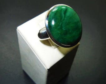 Natural Nephrite Jade  925 Silver Ring