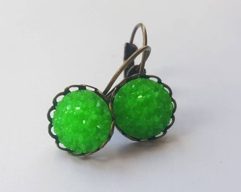 Neon green faux druzy lever back earrings.