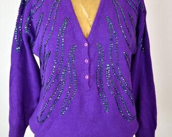 ON SALE 80s SEQUIN Sweater: 80s Purple Sweater // 80s Low Cut Sweater // Avant Garde Sweater // Embellished Sweater // Celebrity Fashion