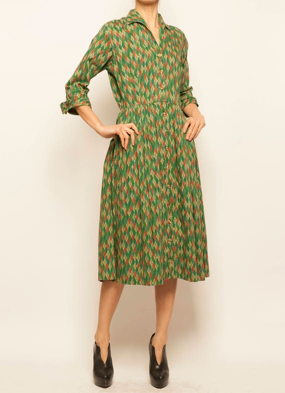 1940-1950's cotton square motif day dress