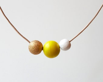 Gold, Yellow, White Wooden Bead Statement Necklace