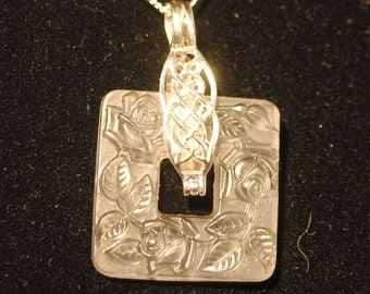 White Vintage glass Pendant Sterling Silver
