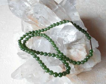 Gemstone Necklace nephrite (Russ. Jade) 50 cm necklace 6 mm pearl necklace