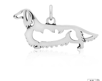 Sterling Silver Long-haired Dachshund Pendant, Body