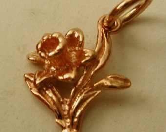 Genuine SOLID 9K 9ct ROSE GOLD 3D Daffodil Flower charm/pendant