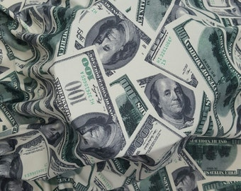 100 Dollar Bills Money Print Fabric Four way Stretch Spandex Fabric Money Print