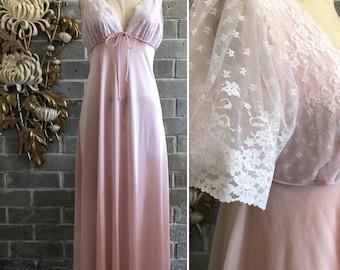 Vintage nightgown peignoir set 1960s nightgown and robe 2 piece nightgown size medium pink nightgown honeymoon set
