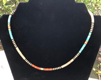 19.25 inch American Indian Multi Color Heshe Bead Necklace with Magnetic Clasp