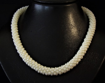 Kumihimo necklace in cream