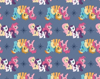 My Little Pony Fabric MLP Fabric Friends in Blue From Camelot 100% Cotton