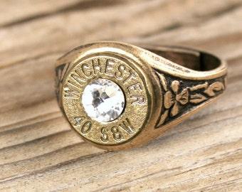 Bullet Ring / 40 Caliber Antiqued Brass Adjustable Bullet Ring WIN-40-DB-ABR / Winchester Bullet Ring / Winchester® Ring / Custom Ring