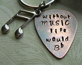 Hand Stamped Without Music Life Would B Flat, Graduation Gift,  Copper Guitar Pick Key Chain, Black Leather Case, Young Mans Gift