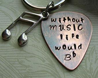 Tamponné sans musique la vie serait B plat, cadeau de Graduation, cuivre Guitar Pick porte-clés, étui en cuir noir, jeunes Mans cadeau